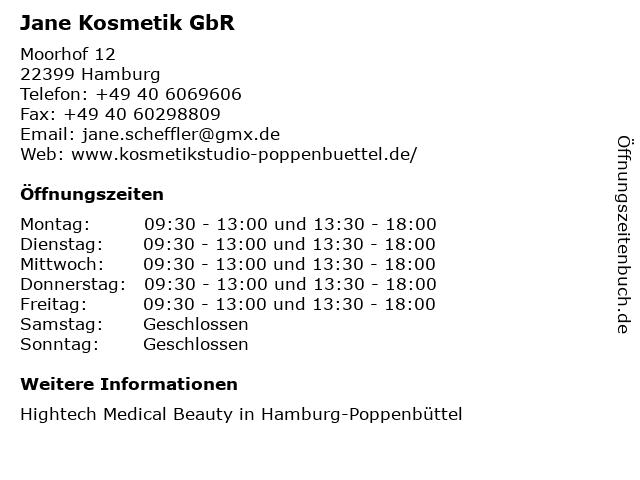 Jane Kosmetik GbR in Hamburg: Adresse und Öffnungszeiten