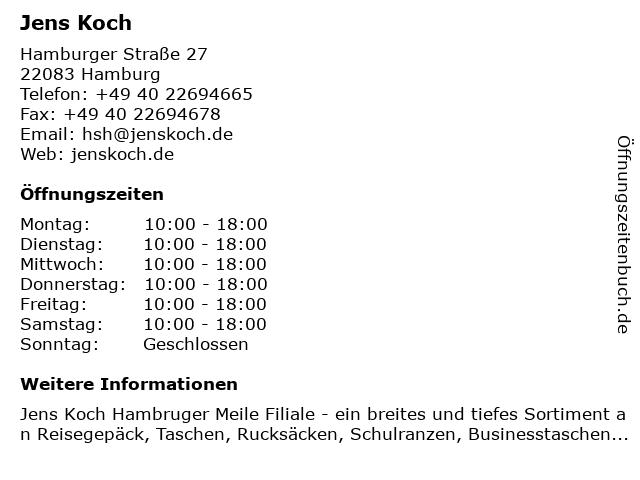 Jens Koch in Hamburg: Adresse und Öffnungszeiten