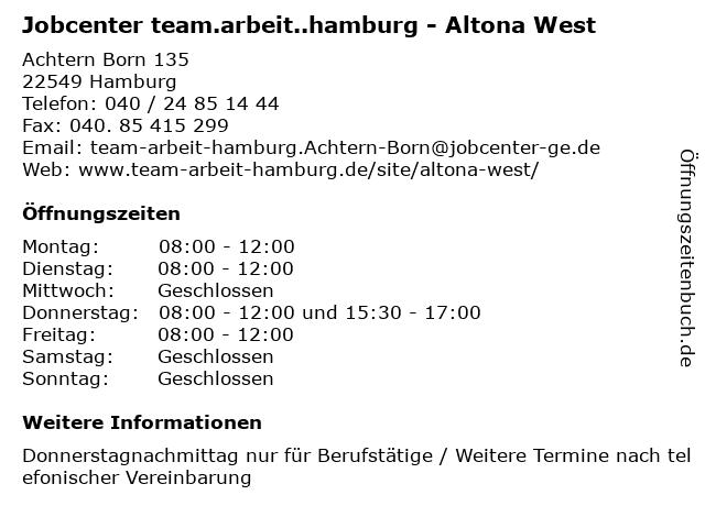 Jobcenter team.arbeit..hamburg - Altona West in Hamburg: Adresse und Öffnungszeiten