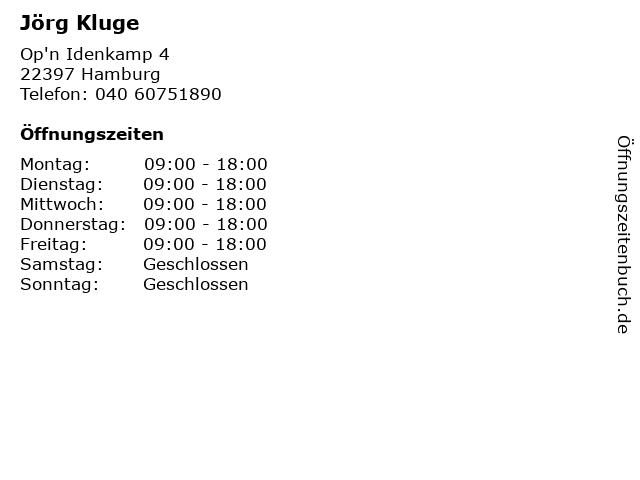 Jörg Kluge in Hamburg: Adresse und Öffnungszeiten