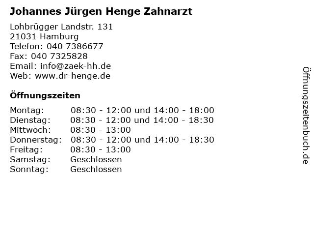 Johannes Jürgen Henge Zahnarzt in Hamburg: Adresse und Öffnungszeiten