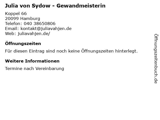 Julia von Sydow - Gewandmeisterin in Hamburg: Adresse und Öffnungszeiten