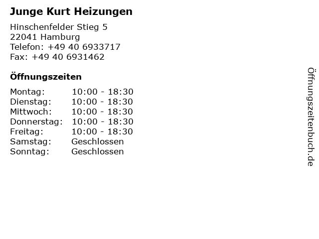 Junge Kurt Heizungen in Hamburg: Adresse und Öffnungszeiten