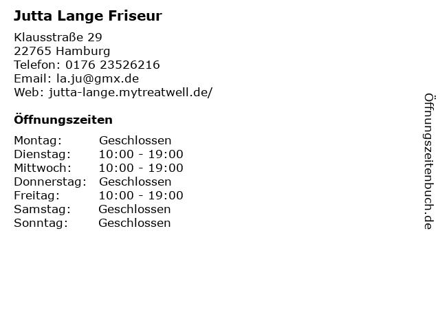 Jutta Lange Friseur in Hamburg: Adresse und Öffnungszeiten