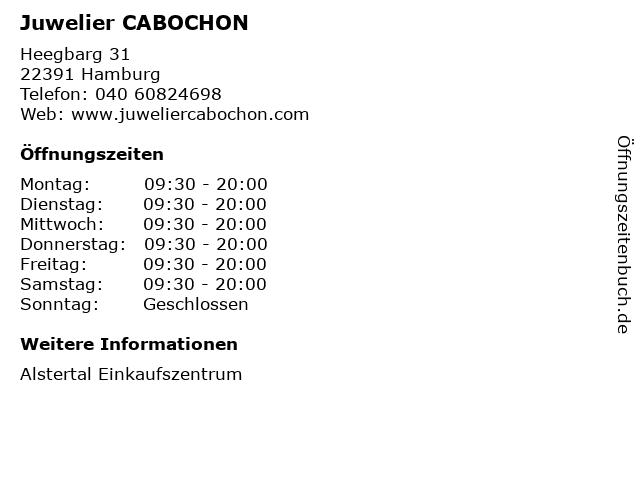 Juwelier CABOCHON in Hamburg: Adresse und Öffnungszeiten