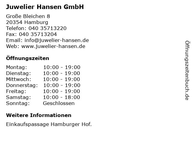 Juwelier Hansen GmbH in Hamburg: Adresse und Öffnungszeiten