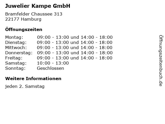 Juwelier Kampe GmbH in Hamburg: Adresse und Öffnungszeiten