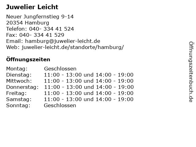 Juwelier Leicht in Hamburg: Adresse und Öffnungszeiten