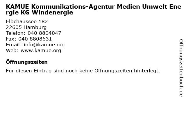 KAMUE Kommunikations-Agentur Medien Umwelt Energie KG Windenergie in Hamburg: Adresse und Öffnungszeiten