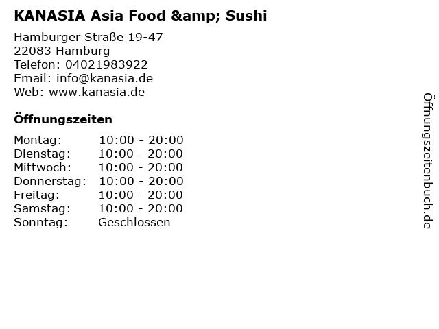 KANASIA Asia Food & Sushi in Hamburg: Adresse und Öffnungszeiten