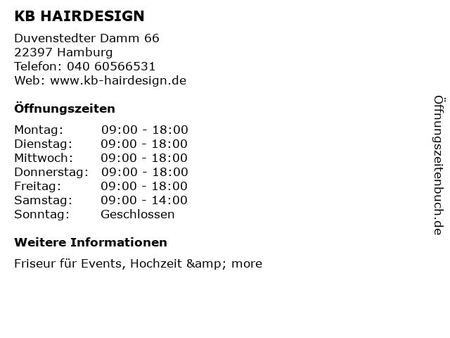 KB HAIRDESIGN in Hamburg: Adresse und Öffnungszeiten