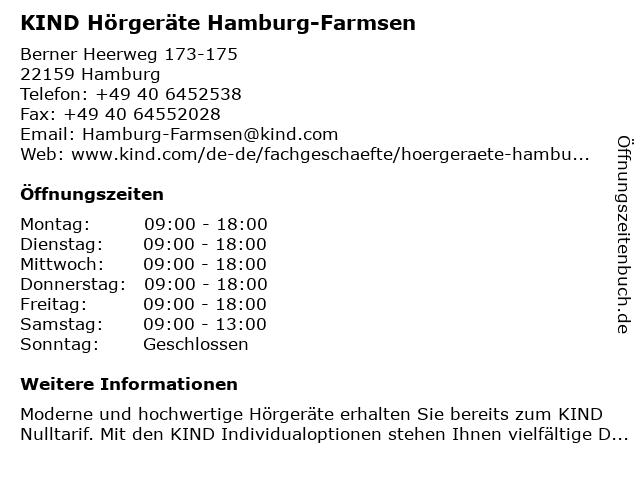 KIND Hörgeräte in Hamburg: Adresse und Öffnungszeiten