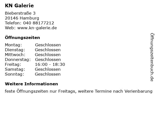 KN Galerie in Hamburg: Adresse und Öffnungszeiten