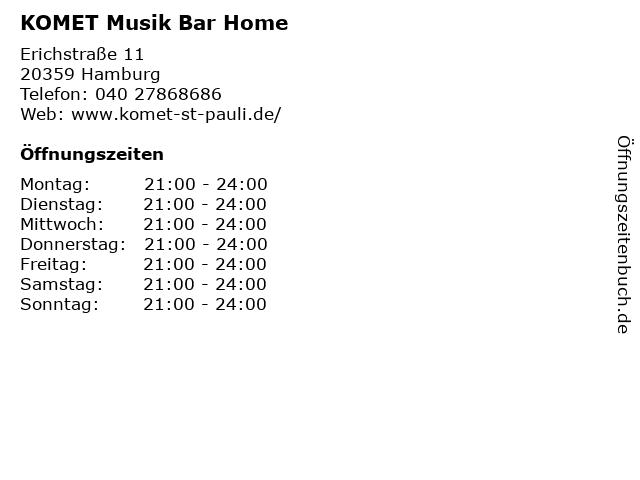 KOMET Musik Bar Home in Hamburg: Adresse und Öffnungszeiten