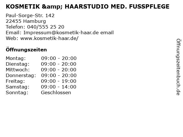 KOSMETIK & HAARSTUDIO MED. FUSSPFLEGE in Hamburg: Adresse und Öffnungszeiten