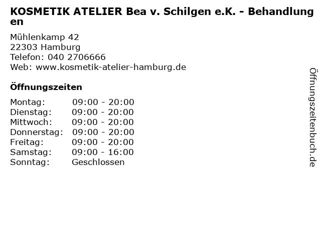 KOSMETIK ATELIER Bea v. Schilgen e.K. - Behandlungen in Hamburg: Adresse und Öffnungszeiten