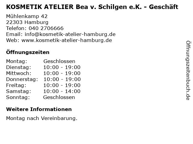KOSMETIK ATELIER Bea v. Schilgen e.K. - Geschäft in Hamburg: Adresse und Öffnungszeiten
