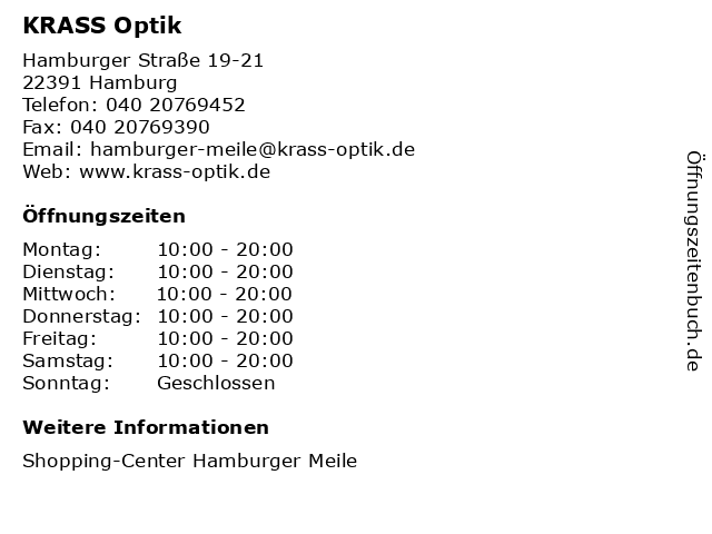 KRASS Optik in Hamburg: Adresse und Öffnungszeiten