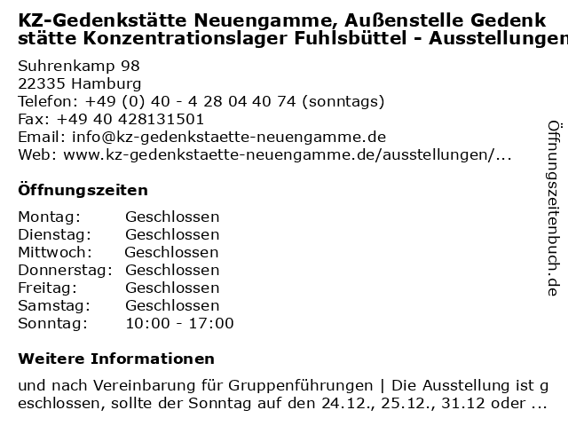 KZ-Gedenkstätte Neuengamme, Außenstelle Gedenkstätte Konzentrationslager Fuhlsbüttel - Ausstellungen in Hamburg: Adresse und Öffnungszeiten