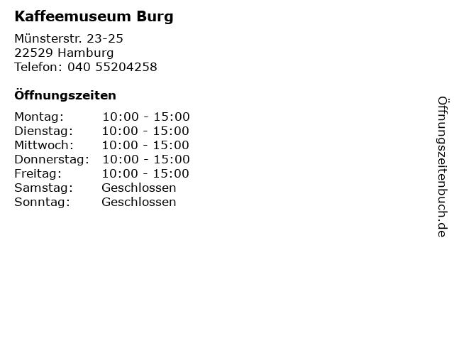 Kaffeemuseum Burg in Hamburg: Adresse und Öffnungszeiten