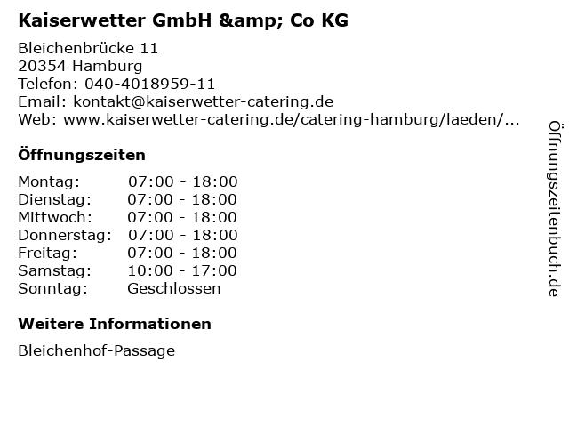 Kaiserwetter GmbH & Co KG in Hamburg: Adresse und Öffnungszeiten