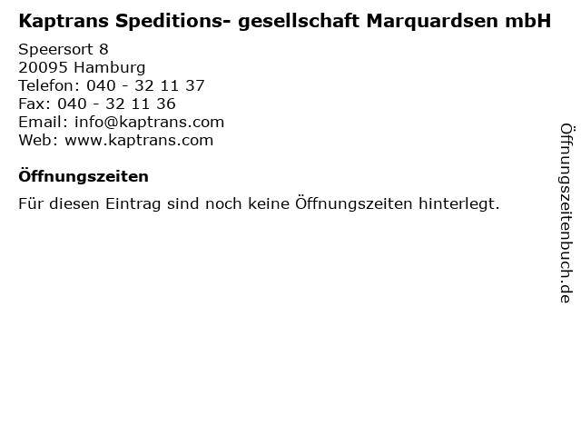 Kaptrans Speditions- gesellschaft Marquardsen mbH in Hamburg: Adresse und Öffnungszeiten