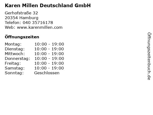 Karen Millen Deutschland GmbH in Hamburg: Adresse und Öffnungszeiten