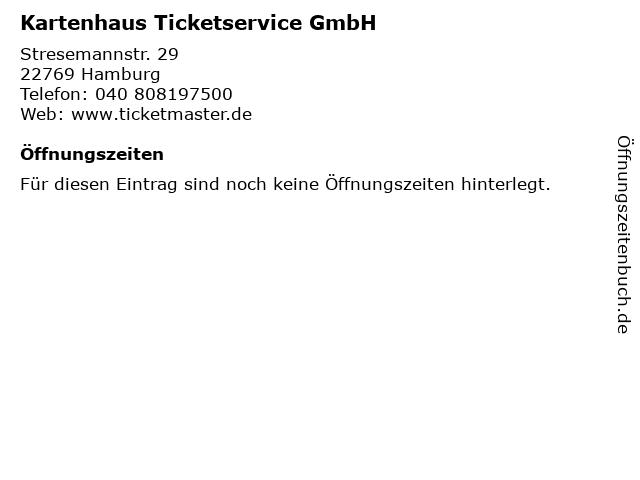 Kartenhaus Ticketservice GmbH in Hamburg: Adresse und Öffnungszeiten