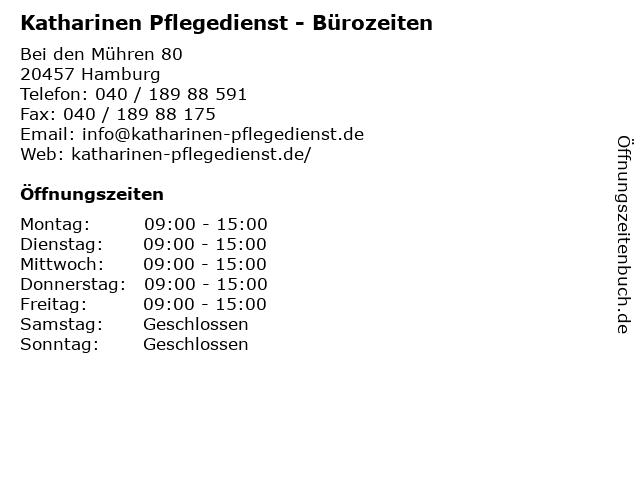 Katharinen Pflegedienst - Bürozeiten in Hamburg: Adresse und Öffnungszeiten