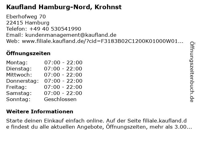 Kaufland Hamburg-Nord, Krohnstieg in Hamburg: Adresse und Öffnungszeiten