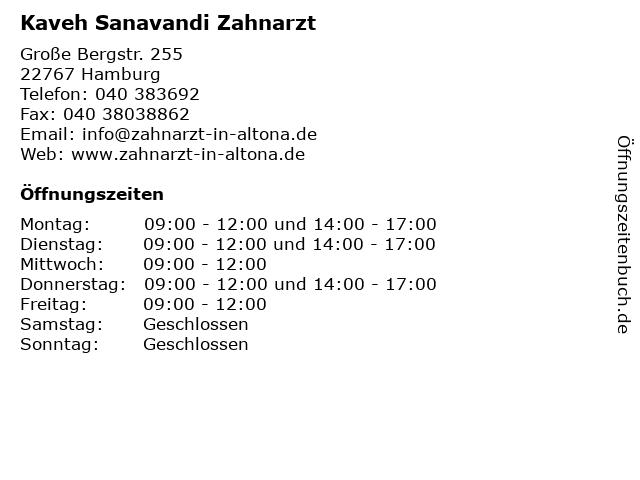 Kaveh Sanavandi Zahnarzt in Hamburg: Adresse und Öffnungszeiten