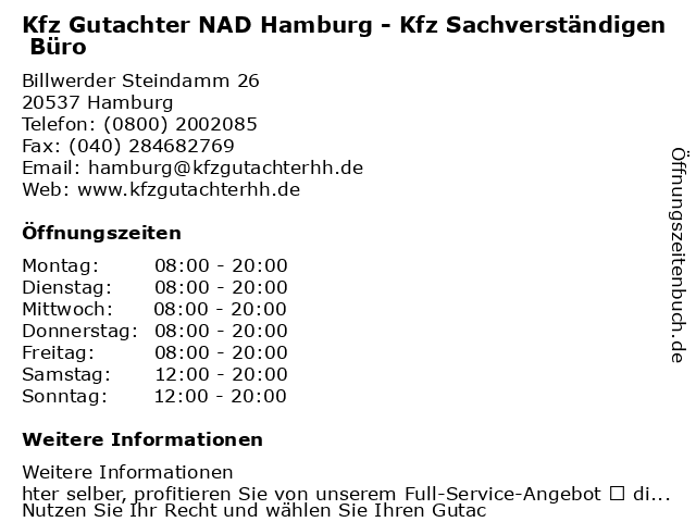 Kfz Gutachter NAD Hamburg - Kfz Sachverständigen Büro in Hamburg: Adresse und Öffnungszeiten