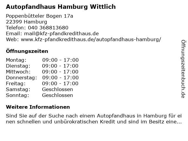 Kfz-Pfandkredithaus Wittlich in Hamburg: Adresse und Öffnungszeiten