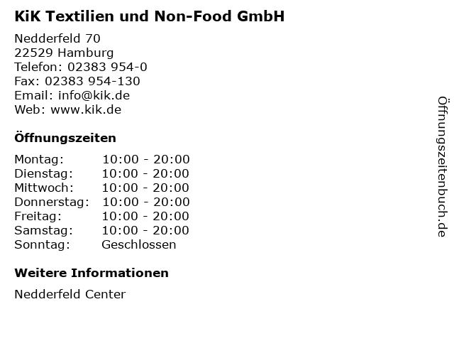 KiK Textilien und Non-Food GmbH in Hamburg: Adresse und Öffnungszeiten