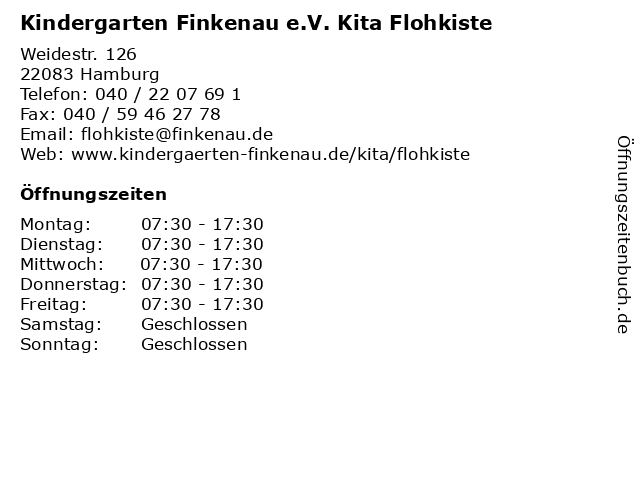 Kindergarten Finkenau e.V. Kita Flohkiste in Hamburg: Adresse und Öffnungszeiten