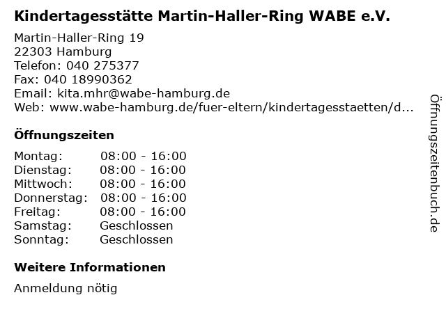 Kindertagesstätte Martin-Haller-Ring WABE e.V. in Hamburg: Adresse und Öffnungszeiten