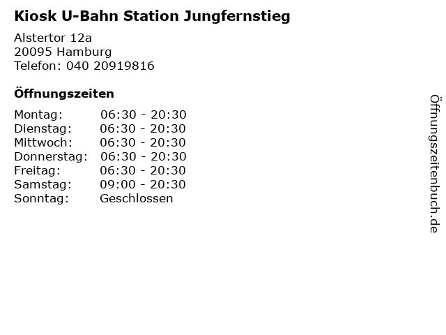 Kiosk U-Bahn Station Jungfernstieg in Hamburg: Adresse und Öffnungszeiten