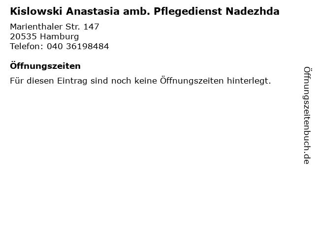 Kislowski Anastasia amb. Pflegedienst Nadezhda in Hamburg: Adresse und Öffnungszeiten