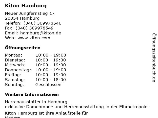 Kiton Hamburg in Hamburg: Adresse und Öffnungszeiten