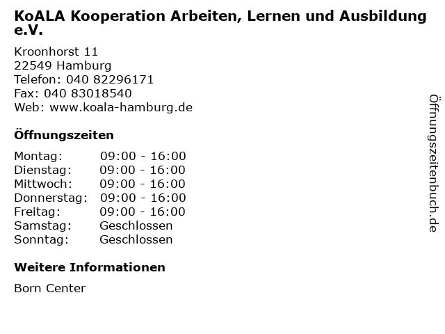 KoALA Kooperation Arbeiten, Lernen und Ausbildung e.V. in Hamburg: Adresse und Öffnungszeiten