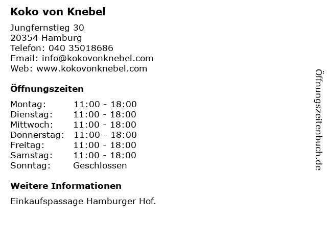 Koko von Knebel in Hamburg: Adresse und Öffnungszeiten