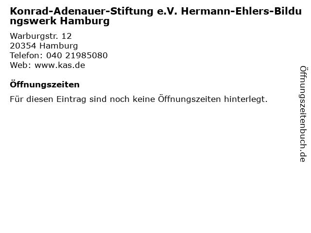 Konrad-Adenauer-Stiftung e.V. Hermann-Ehlers-Bildungswerk Hamburg in Hamburg: Adresse und Öffnungszeiten