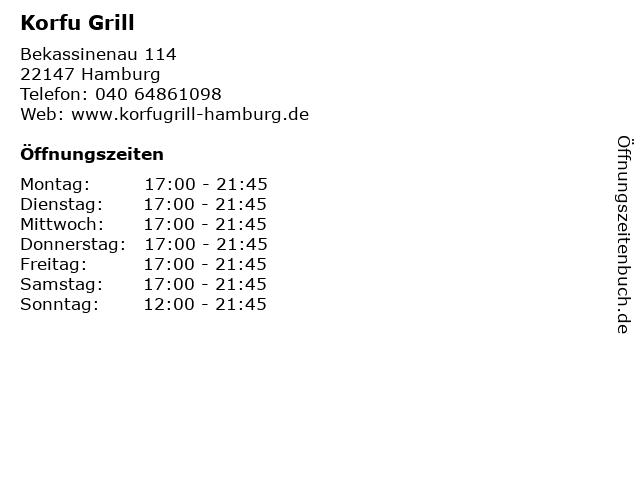 Korfu Grill in Hamburg: Adresse und Öffnungszeiten