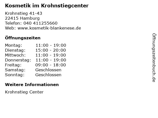 Kosmetik im Krohnstiegcenter in Hamburg: Adresse und Öffnungszeiten