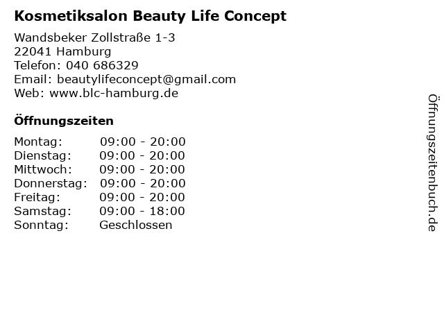 Kosmetiksalon Beauty Life Concept in Hamburg: Adresse und Öffnungszeiten