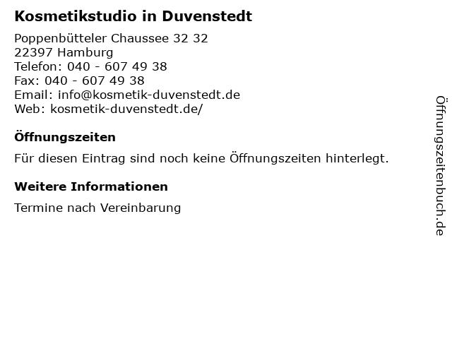 Kosmetikstudio in Duvenstedt in Hamburg: Adresse und Öffnungszeiten