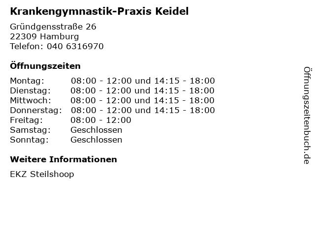 Krankengymnastik-Praxis Keidel in Hamburg: Adresse und Öffnungszeiten