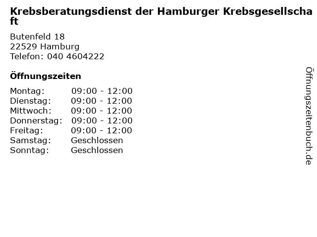 Krebsberatungsdienst der Hamburger Krebsgesellschaft in Hamburg: Adresse und Öffnungszeiten