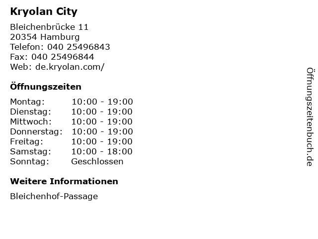 Kryolan City in Hamburg: Adresse und Öffnungszeiten