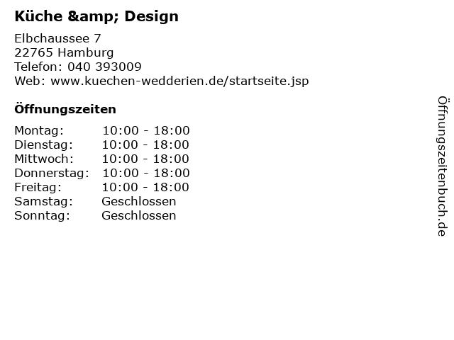 ᐅ Offnungszeiten Kuche Design Elbchaussee 7 In Hamburg